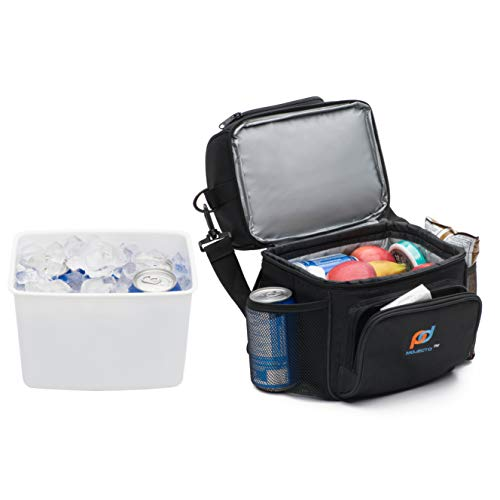 MOJECTO Small Cooler Bag with Leak-Proof Hard Liner Bucket -Will Hold 6 Normal Soda Cans. Two Compartment, StrongFabric, Thick Foam Insulation, Strong Durable Double Zippers. Food, Medicines Cameras.