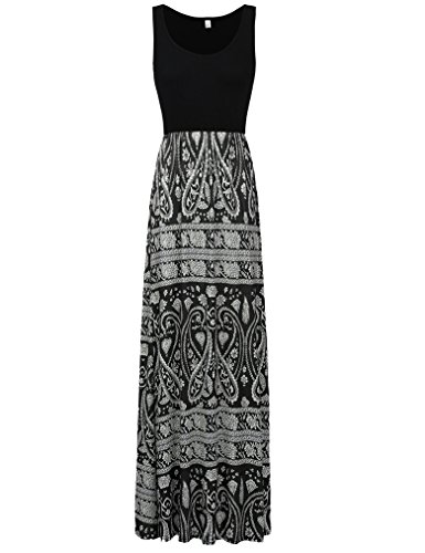 Sherosa Women Boho Chevron Striped Print Summer Sleeveless Tank Long Maxi Party Dress (XXL, Black 1)
