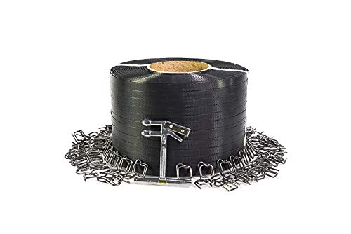 PAC Strapping SP-W-AMZ Plastic Strapping Kit, 3000' Length x 1/2' Wide, 300 Wire Buckles & Tensioner Tool, Black