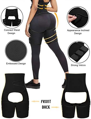 FeelinGirl Neoprene Sweat Waist Trainer and Thigh Trimmer Butt Lifter High Waist Thigh Slimmer Workout Body Belts Fitness 3