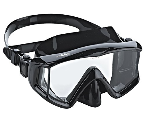 Phantom Aquatics Panoramic Scuba Snorkeling Dive Mask, All Black
