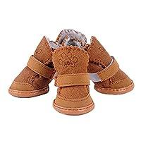 AWHAO かわいいペットの犬のスノーブーツ 冬靴 ドッグ ブーツ スノーブーツ 雪 肉球保護ムートンブーツ 茶褐色