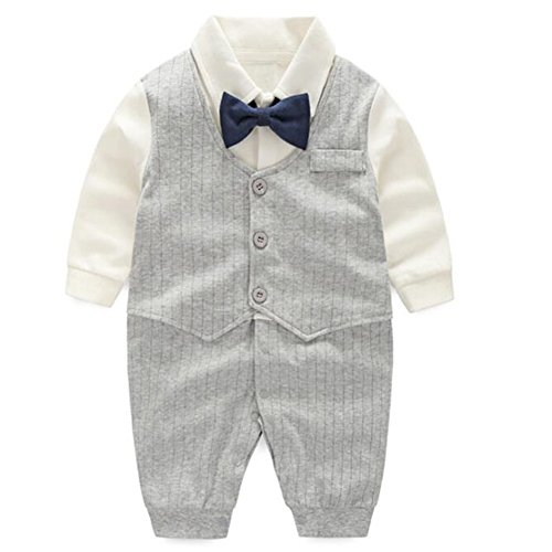 Fairy Baby Baby Boy Gentleman Outfit Formal Romper Infant Tuxedo Dress Suits,3-6M,Grey Stripe