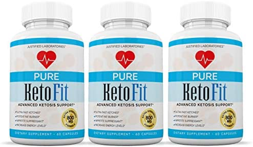 Pure Keto Fit Pills Advanced BHB Ketogenic Supplement Exogenous Ketones Ketosis for Men Women 60 Capsules 3 Bottles 3