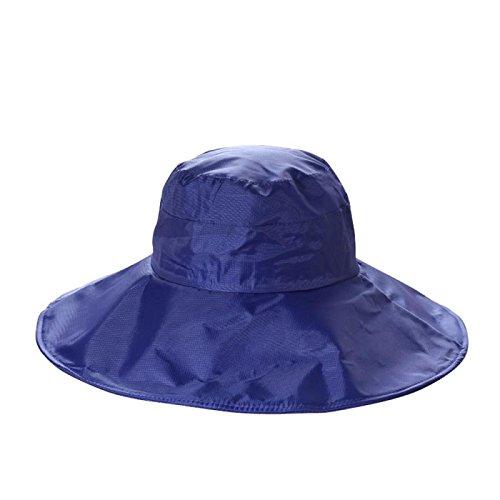 Women's Rain Hats Waterproof Rain Hat Wide Brim Bucket Hat Rain Cap Sun Hats (Navy Blue)