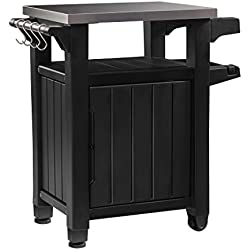 Outdoor BBQ Entertainment Storage Table / Prep Station with Metal Top