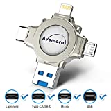 Avomoco 3.0 128GB 4 in 1 Flash Drive Compatible iPhone &Ipad and Android Phones Type C Devices,Tablets .Photo Stick for iPhone&Ipad Samsung Galaxy,LG,Google Pixel,Hua Wei
