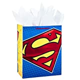 """Hallmark 13"""" Large Gift Bag with Tissue Paper (Superman Logo, Red Foil) for Birthdays, Fathers Day, Superhero Parties and More"""