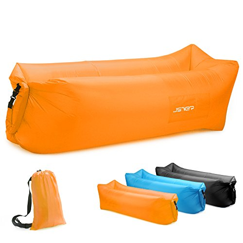 JSVER Inflatable Lounger Air Sofa with Portable Package for Beach and Pool, Travelling, Camping, Orange