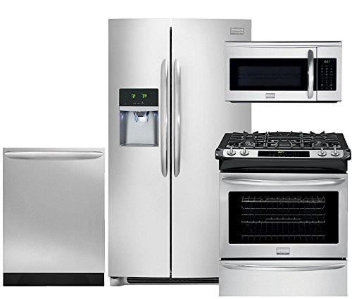 Frigidaire Gallery 4-Piece Smudge-Proof Stainless Steel Package, FGHC2331PF 36' Side-by-Side Refrigerator, FGGS3065PF 30' Slide-In Gas Range, FGID2466QF 24' Dishwasher, FGMV175QF 30' Microwave