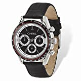 Product review of Jewelry Best Seller Mens Chisel Stainless Steel Black Leather Chronograph Watch