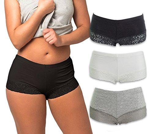 Emprella Womens Boyshort Panties with Lace Bottom (3-Pack) (Medium, Assorted)