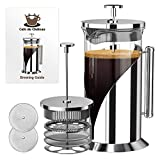 French Press Coffee Maker (8 cup, 34 oz) With 4 Level Filtration System, 304 Grade Stainless Steel, Heat Resistant Borosilicate Glass by Cafe Du Chateau