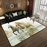 All Weather Floor mats,Animal Decor,Camargue Horses in The Water Ancient Oldest Breed in Southern France Origin Artful Photo,White Beige 63'x 94' Multi-USE Floor MAT