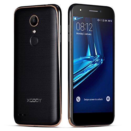 Xgody X20 Unlocked Smartphones Android 5.1 Lollipop 16 GB ROM 1GB RAM 5 Inch HD Screen Quad Core Dual Sim Dual Camera 5MP&8MP for Net10 Wireless, Straight Talk Cell Phones with Wi-Fi GPS Black