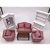 NATFUR Luxury 1/12 Dollhouse Miniature Furniture Kit Sofa End Table Collect Cabinet