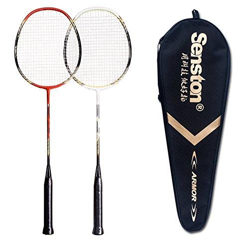 Senston - 2 Player Badminton Racket Set Double Rackets Carbon Fiber Shaft Racquets Badminton Set - Including 1 Badminton Bag
