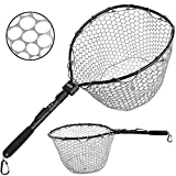 PLUSINNO Fly Fishing Net Fish Landing Net, Trout Bass Net Soft Rubber Mesh Catch and Release Net(27')