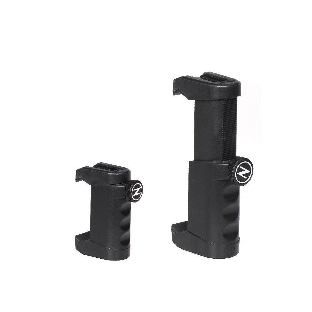 Amazon.com: Ztylus Z-Grip Universal Smartphone Rig We use this smartphone holder for most our video work on a tripod – it has a microphone slot on top.