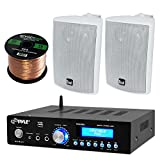 Pyle PDA5BU Amplifier Receiver Stereo, Bluetooth, AM/FM Radio, USB Flash Reader, Aux input (3.5mm) LCD Display, 200 Watt - Bundle With Enrock 50ft 16g Speaker Wire