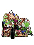 Super Mario Boys Girls 5 Piece Backpack and Snack Bag School Set (Black/Multi)