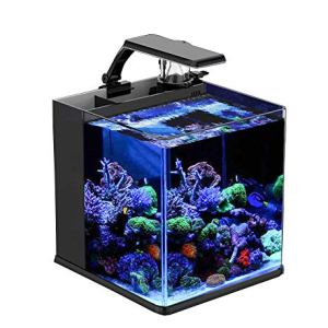 GankPike 8-Gallon Saltwater Aquarium Marine Fish Tank Reef Tank with Lid, Protein Skimmer, Heater, LCD Digital Thermometer and Pump 10
