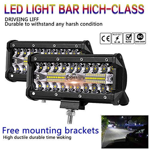 Accreate 7 inch 400W LED Work Light Bar Flood Spot Beam Offroad 4WD SUV Driving Fog Lamp
