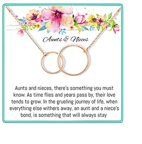 Onepurposegifts Aunt& Nieces Gifts Set Necklace for Birthday Gift, (Rose Gold)