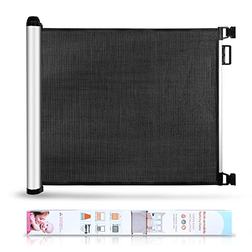 Baby Safety Gate Retractable Mesh Black Gates for Doorways, Door, Stairs - Extension Extra Wide Child Gate Indoor Outdoor Retract Gate Baby Proofing