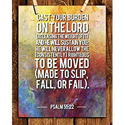 """""""Cast Your Burdens On The Lord To Sustain You""""-Psalm 55:22- Bible Verse Wall Art-8x10""""-Scripture Wall Print-Ready to Frame. Abstract Typographic Design. Home & Office Décor. Great Christian Gift."""