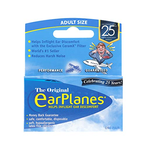 Original Adult EarPlanes by Cirrus Healthcare Earplugs Airplane Travel Ear Protection Bonus Pack (1 Pair)