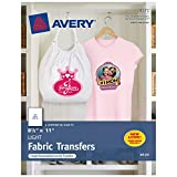 Avery T-Shirt Transfers for Inkjet Printers, For Light Fabric, 8.5' x 11', 6 Transfers (3271), Clear