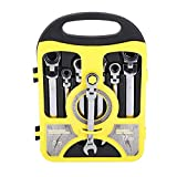 Yosoo 7pcs Ratcheting Combination Wrench Set, Flexible Head Multi-Functional Ratchet Conination Spanner Wrench 8-19mm Repair Tools Set