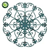 """SALE! 16"""" Hand Made Iron Wall Medallion, Home, Room Decoration Home Decor 100% Lead Free Paint, Teal Color. Gift yourself or a LOVED one!"""