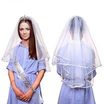 Hengfengmy-Accessoires-de-fte-pour-Enterrement-de-Vie-de-Jeune-Fille-Comprenant-Une-charpe-Une-diadme-de-marie-des-Tatouages-des-Lunettes-de-Soleil-Une-bannire-de-marie-Un-Badge--Rosace