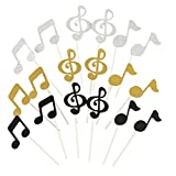 Healifty 18PCS Glitter Music Notation Birthday Cake Toppers Birthday Party Decor for Baby Shower Wedding Birthday Party (Golden Silver Black)
