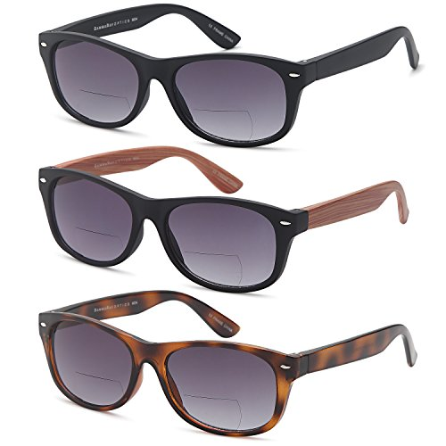 Gamma Ray Bifocal Sunglasses - 3 Pairs Sun Reader Sunglasses 3.00 Reader for Sun