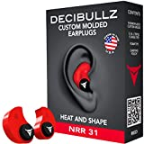 Decibullz - Custom Molded Earplugs, 31dB Highest NRR, Comfortable Hearing Protection for Shooting, Travel, Swimming, Work and Concerts (Red)
