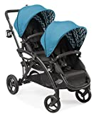Contours Options Elite Tandem Double Toddler & Baby Stroller, Multiple Seating Configurations, Reclining Seats, Lightweight Frame, Car Seat Compatibility, Large Storage Basket, Laguna Blue
