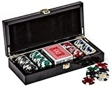 This handsome high end poker set is of excellent quality. The case is a beautiful black and grey carbon fiber with a high gloss finish, accented with nickel plated hardware. The inside of the case is lined in black velvet. Complete with 100 h...