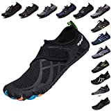 LINGTOM Mens Womens Aqua Water Shoes Quick Dry Barefoot Sports Exercise for Walking Swimming Diving Beach Surf Pool Yoga,Black 15.5 M US Women / 14 M US Men