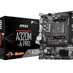 MSI ProSeries AMD A320 1st, 2nd, 3rd Gen Ryzen Compliant AM4 DDR4 HDMI DVI USB 3 Micro-ATX Motherboard (A320M-A PRO)