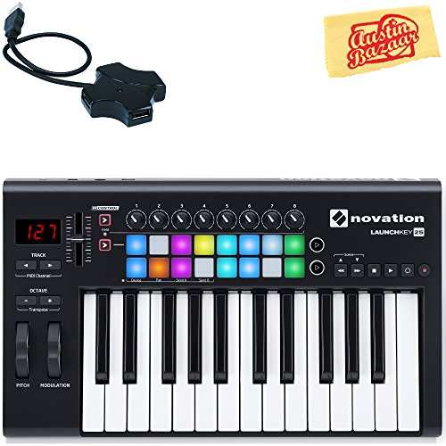 Novation Launchkey 25 Keyboard Controller Bundle with USB Hub and Austin Bazaar Polishing Cloth, Bundle w/ USB Hub, Launchkey 25