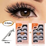 MAGEFY 10 Pairs Fake Eyelashes Reusable 3D Handmade False Eyelashes Set for Natural Look with False Lashes Applicator-10 Styles