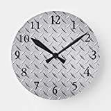 DoreenAbe Classic Wood Clock, Non Ticking Clock 12' Wooden Decorative Round Wall Clock in Silver Diamond Plate