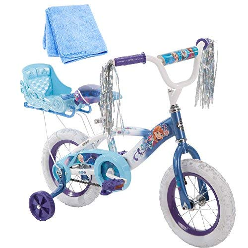 12 Inch Huffy Bicycle Frozen Kids Bike for Girls, Blue with Training Wheels and Cleaner Cloth