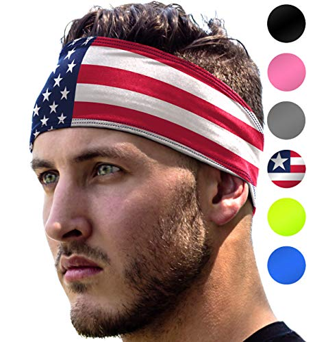 Workout Headband: UNISEX Fitness USA Flag Headbands For Women & Men. 4th of July US Head Band Sweatband 4 Running, Yoga, Gym Exercise. Sport Sweatbands & Sweat Wicking Athletic Party Head Wrap Bands