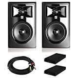 JBL 305P MkII Powered 5' Two-Way Studio Monitors (Pair) with Knox Gear Isolation Pads and Breakout Cable Bundle