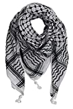 Egyptian Cotton Military Shemagh Tactical Desert 100% Cotton Keffiyeh Scarf Wrap (Black)