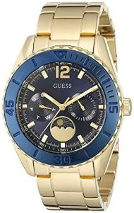 GUESS Women's U0565L4 Gold-Tone Multi-Function Watch with Iconic Blue Moonphase Dial